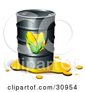 Clipart Illustration Of A Leaking Barrel Of Ethanol Fuel With Corn Labels On The Front