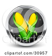 Clipart Illustration Of A Black And Chrome Internet Button With Two Ears Of Corn