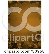 Orange Valentines Day Stationery Background Bordered By Brown And Yellow 3d Hearts