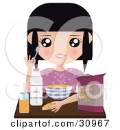 Black Haired Girl Seated At A Table With Milk Juice Bread And A Bowl Of Cereal