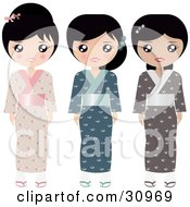 Clipart Illustration Of A Set Of Three Japanese Paper Doll Women In Pink Blue And Brown Kimonos And Slippers