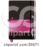 Clipart Illustration Of A Pen Resting On Top Of A Brown And Pink 2009 Notebook
