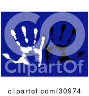 Clipart Illustration Of White And Black Hand Prints On A Blue Background