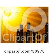 Clipart Illustration Of The Sun Shining Brightly Over A City Skyline Of Tall Skyscraper Buildings by elaineitalia #COLLC30976-0046
