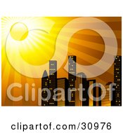 Clipart Illustration Of The Sun Shining Brightly Over A City Skyline Of Tall Skyscraper Buildings by elaineitalia