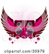 Clipart Illustration Of A Sparkling Pink Disco Ball In Front Of Two Pink Speakers With Wings And Flowers On A White Background With Gradient Dots