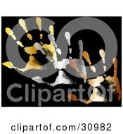 Clipart Illustration Of Gold Silver And Bronze Hand Prints On A Black Background by elaineitalia