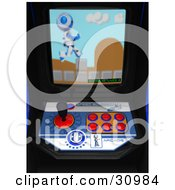 Clipart Illustration Of A Blue Pixelated AO Maru Robot Leaping Over Obstacles On The Screen Of An Arcade Game