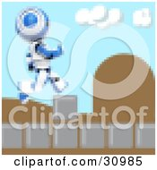 Clipart Illustration Of A Blue Pixelated AO Maru Robot Leaping Over Obstacles On A Video Game Screen