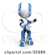 Blue AO Maru Robot Standing With His Arms Out To The Right And Looking Forward At The Viewer by Leo Blanchette