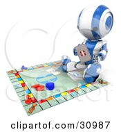 Blue AO Maru Robot Sitting On The Floor And Reading A Card To A Board Game by Leo Blanchette