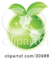 Clipart Illustration Of Dew On A Green Grid Globe With Green Leaves Sprouting From The Top