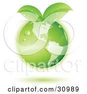Clipart Illustration Of A Green Globe With Green Leaves Sprouting From The Tops With A Green Shadow