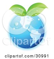 Clipart Illustration Of Dew On A Blue Grid Globe With Green Leaves Sprouting From The Top
