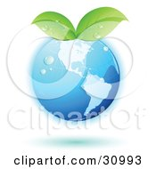 Clipart Illustration Of A Blue Globe With Green Leaves Sprouting From The Tops With A Blue Shadow