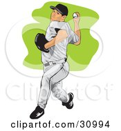 Clipart Illustration Of An Athletic Male Baseball Pitcher Preparing To Throw The Ball
