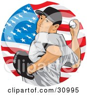 Clipart Illustration Of An Athletic Male Baseball Pitcher Pitching A Ball In Front Of An American Flag