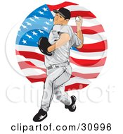 Clipart Illustration Of An Athletic Male Baseball Pitcher Over A Background Of The American Flag by David Rey