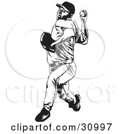 Clipart Illustration Of A Black And White Baseball Player Pitching A Ball