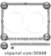 Clipart Illustration Of A Black And White Diploma With An Aztec Design