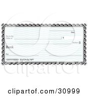 Clipart Illustration Of A Blank Bank Cheque With Blue Waves And A Black Border
