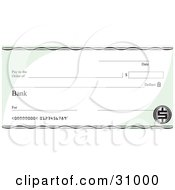Clipart Illustration Of A Blank Bank Check With Green Corners And A Dollar Symbol by David Rey