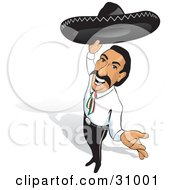 Clipart Illustration Of A Friendly Mexican Rancher Holding Up His Sombrero And Smiling