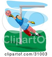 Clipart Illustration Of An Association Football Goalkeeper Blocking A Ball