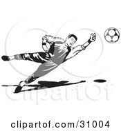 Clipart Illustration Of A Goaltender Diving To Block A Ball Black And White by David Rey