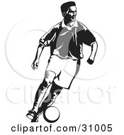 Clipart Illustration Of A Black And White Soccer Player Running And Kicking A Ball by David Rey