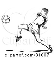 Clipart Illustration Of A Soccer Player Lifting His Leg To Kick A Ball Black And White by David Rey