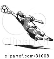 Clipart Illustration Of A Goal Keeper Blocking A Ball In Black And White by David Rey