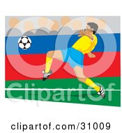 Clipart Illustration Of A Soccer Player Kicking A Ball During A Game