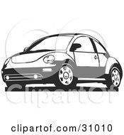 Clipart Illustration Of A Black And White Slug Bug Car by David Rey #COLLC31010-0052