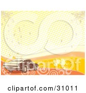 Clipart Illustration Of A Brown Muscle Car Over A Grunge Background Of Orange And Yellow Waves Grunge Circles Dots And Splatters by David Rey