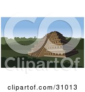 Clipart Illustration Of The Nichos Pyramid In Mexico Surrounded By Lush Greenery
