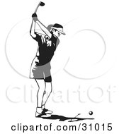 Clipart Illustration Of A Black And White Woman Holding A Golf Club Back While Preparing To Swing At A Ball