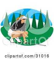 Clipart Illustration Of A Caucasian Lady In A Visor Hat Crouching While Aiming And Golfing
