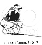 Clipart Illustration Of A Black And White Woman Wearing A Visor Hat Crouching And Aiming While Golfing
