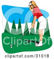 Clipart Illustration Of A Caucasian Lady In A Visor Hat Preparing To Swing Her Golf Club