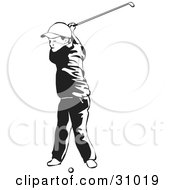 Clipart Illustration Of A Little Boy Swinging A Golf Club While Taking Lessons Black And White