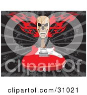 Clipart Illustration Of A Skull With Red Flames Over A Red Electric Guitar On A Gray And Black Background