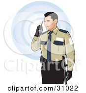 Clipart Illustration Of A Male Security Guard In Uniform Speaking Through A Walkie Talkie Over A White Background With Blue Circles by David Rey #COLLC31022-0052