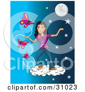 Clipart Illustration Of A Pretty Hispanic Girl Standing On A Cloud In A Starry Night Sky With Three Pink Butterflies