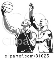 Clipart Illustration Of Two Men Playing Basketball One Trying To Steal The Ball From The Other In Black And White