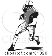 Clipart Illustration Of A Football Player Running With The Ball In Black And White