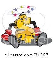 Clipart Illustration Of A Yellow Dollar Symbol Character Seeing Stars After Being Knocked Out Symbolizing A Financial Crisis Or Blow Out Clearance Prices