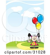 Happy Little Girl In A Floral Dress Holding Colorful Balloons And Standing On A Hill
