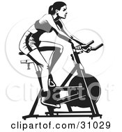 Clipart Illustration Of A Healthy Woman Exercising On A Stationary Bicycle In A Gym