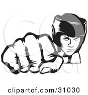 Clipart Illustration Of A Tough Boxer Wearing A Helmet And Punching With Their Fist Towards The Viewer by David Rey #COLLC31030-0052